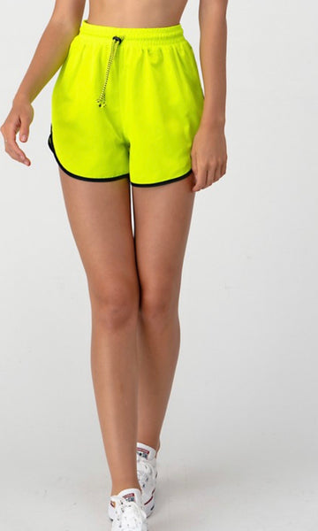 """It's cool"" water resistant neon shorts"