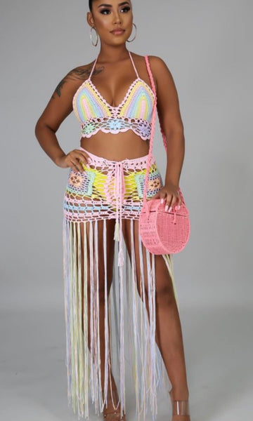 Pastel crochet cover up set