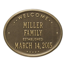 "Load image into Gallery viewer, Whitehall One Line / Antique Brass / No Welcome Oval Wall Plaque - ""Family"""