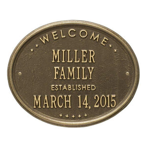 "Whitehall One Line / Antique Brass / No Welcome Oval Wall Plaque - ""Family"""