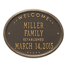 "Load image into Gallery viewer, Whitehall One Line / Bronze w/ Gold / No Welcome Oval Wall Plaque - ""Family"""
