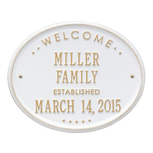 "Whitehall One Line / White w/ Gold / No Welcome Oval Wall Plaque - ""Family"""