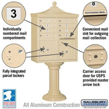 "Load image into Gallery viewer, 8-Unit Cluster Mailboxes with ""Regency"" Decorative Cap and Pedestal Cover by Salsbury Industries"