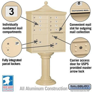 "8-Unit Cluster Mailboxes with ""Regency"" Decorative Cap and Pedestal Cover by Salsbury Industries"