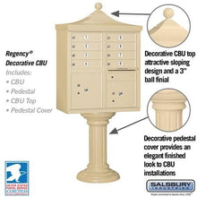 "Load image into Gallery viewer, Salsbury 8-Unit Cluster Mailboxes with ""Regency"" Decorative Cap and Pedestal Cover by Salsbury Industries"