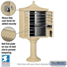 "Load image into Gallery viewer, 12-Unit Cluster Mailboxes with ""Regency"" Decorative Cap and Pedestal Cover by Salsbury Industries"
