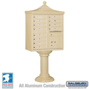 "12-Unit Cluster Mailboxes with ""Regency"" Decorative Cap and Pedestal Cover by Salsbury Industries"