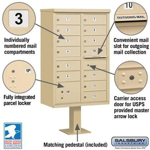 13-Unit (Type IV) Pedestal-Mount Cluster Mailbox by Salsbury Industries