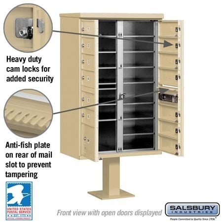 Salsbury 13-Unit (Type IV) Pedestal-Mount Cluster Mailbox by Salsbury Industries