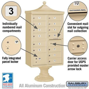 "Salsbury 13-Unit Cluster Mailboxes with ""Regency"" Decorative Cap and Pedestal Cover by Salsbury Industries"