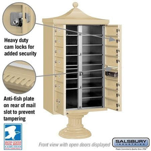 "13-Unit Cluster Mailboxes with ""Regency"" Decorative Cap and Pedestal Cover by Salsbury Industries"