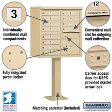 Load image into Gallery viewer, 12-Unit (Type II) Pedestal-Mount Cluster Mailbox by Salsbury Industries