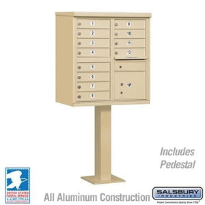 12-Unit (Type II) Pedestal-Mount Cluster Mailbox by Salsbury Industries