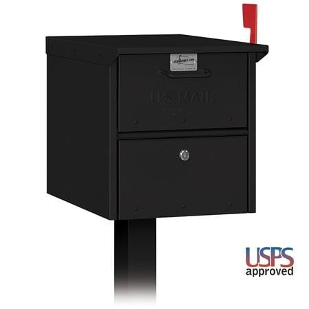 Salsbury Black / Black Vinyl / No Locking Mail Chest w/ Post - Commercial