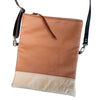 foldover leather crossbody // camel