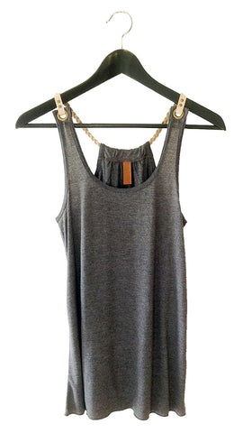 braided leather strap tank
