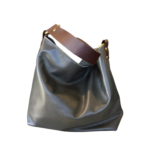simple leather hobo // grey