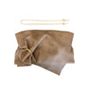 brass ring leather purse // sand