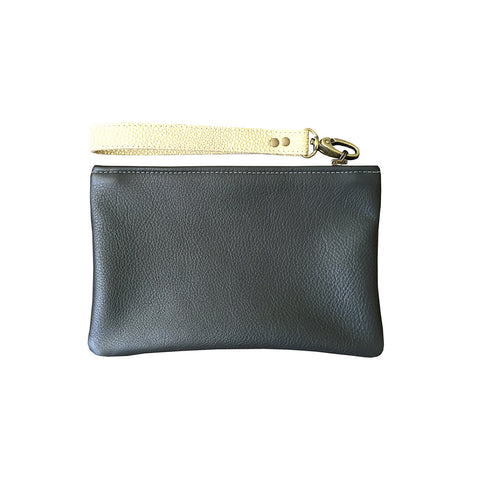 leather zipper pouch // grey, SMALL