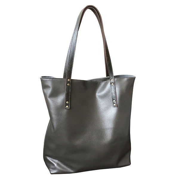simple leather tote // grey