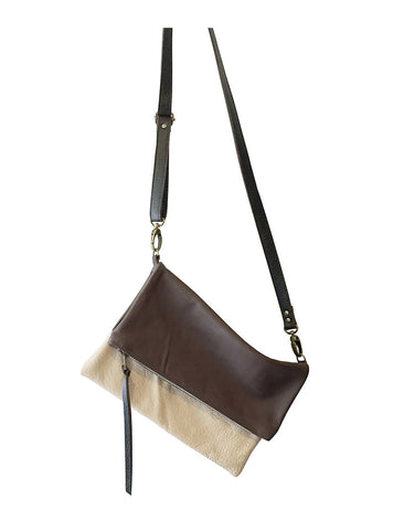 foldover leather crossbody // brown