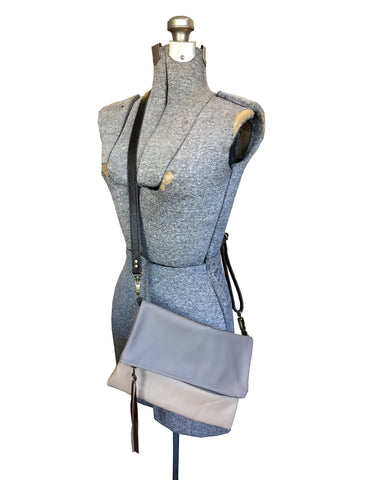 foldover leather crossbody // light grey