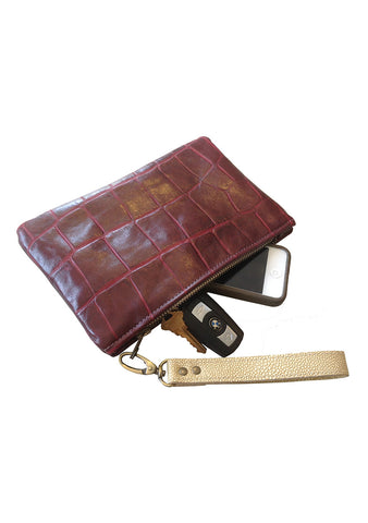 leather zipper pouch, SMALL