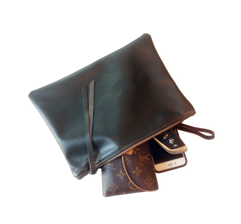 Leather Zipper Pouch, Large