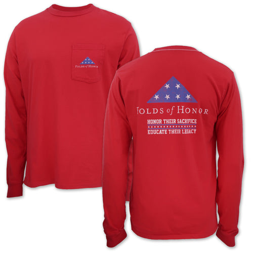 Folds Of Honor Flag Long Sleeve Pocket T-Shirt (Red)