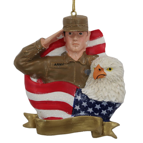 Army Soldier USA Flag/Eagle Ornament