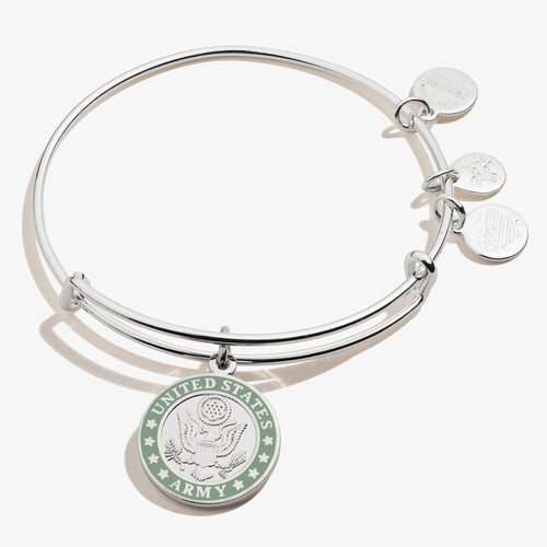 Alex and Ani Army Bangle Bracelet (Silver)