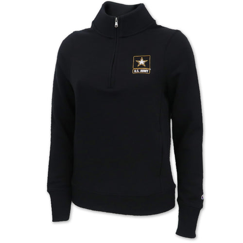 Army Star Champion Ladies University Fleece 1/4 Zip (Black)