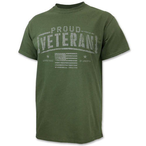 Proud Veteran American Flag T-Shirt (OD Green)