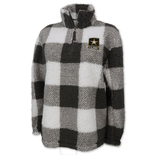 Army Sherpa Quarter Zip Pullover (Buffalo Plaid)