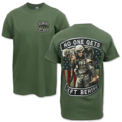 No One Gets Left Behind American Flag T-Shirt (OD Green)