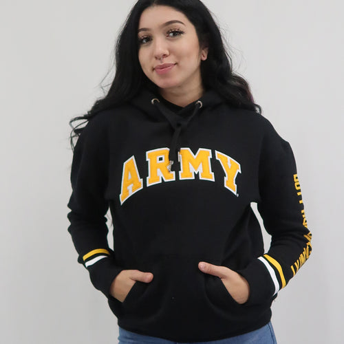Army Ladies Tackle Twill Fleece Stripe Hood (Black)