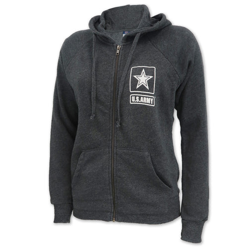 Army Ladies Angel Fleece Full Zip Hoodie (Charcoal)