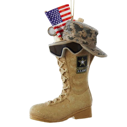 ARMY BOOT WITH US FLAG ORNAMENT 2