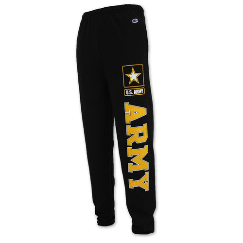 ARMY CHAMPION FLEECE BANDED SWEATPANTS (BLACK) 1