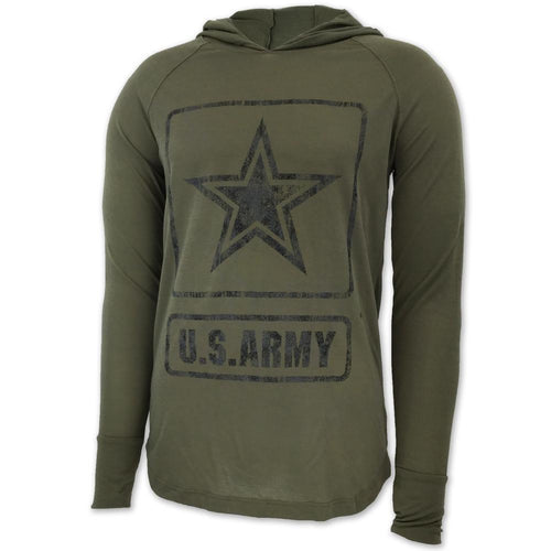 ARMY DISTRESSED STAR LONG SLEEVE HOODIE T (OLIVE)