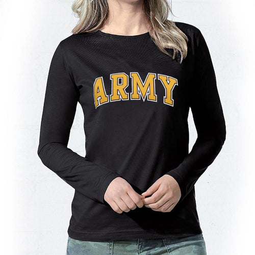 ARMY LADIES ARCH SCOOP NECK LONG SLEEVE T-SHIRT (BLACK) 2