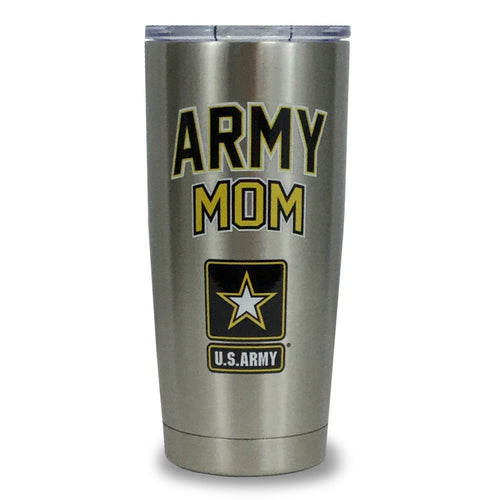 ARMY MOM STAINLESS STEEL TUMBLER (SILVER) 1