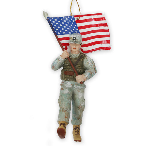 ARMY SOLDIER WITH FLAG ORNAMENT 1