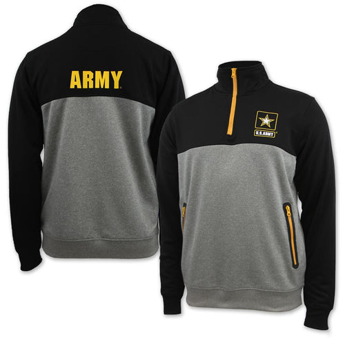 ARMY STAR COLORBLOCK POLY 1/4 ZIP (BLACK/GREY)