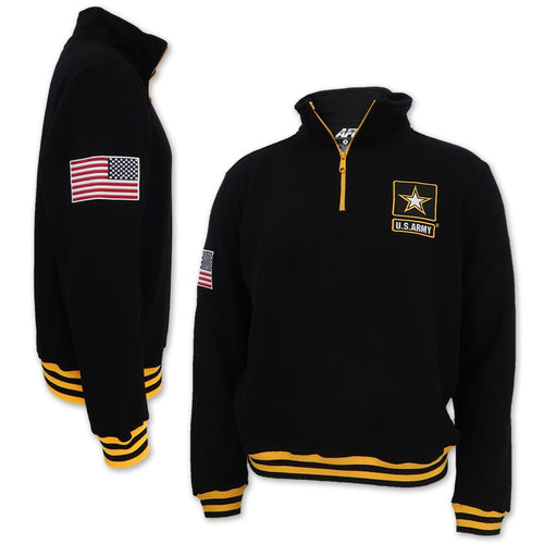 ARMY STAR FLEECE STRIPE 1/4 ZIP (BLACK) 4