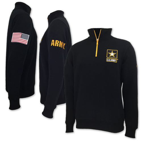ARMY STAR FLEECE 1/4 ZIP (BLACK)