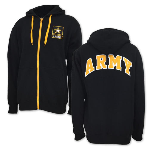 ARMY STAR FLEECE FULL ZIP (BLACK)
