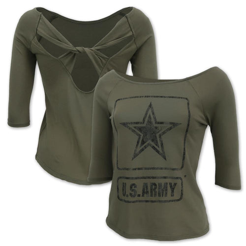 ARMY STAR LADIES CROSS BACK 3/4 SLEEVE T-SHIRT (OLIVE) 3