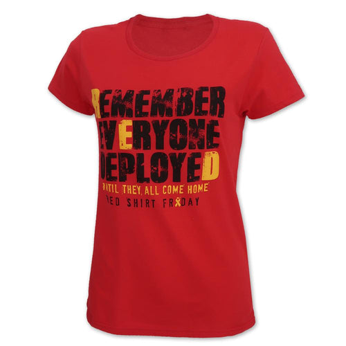 LADIES REMEMBER EVERYONE DEPLOYED T-SHIRT (RED) 1