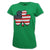 LADIES SHAMROCK USA FLAG T-SHIRT (GREEN)